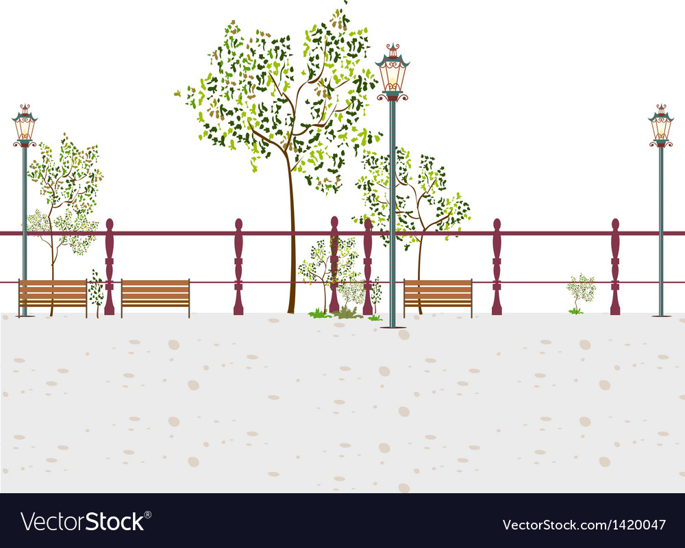 Stylized park scene vector | Price: 1 Credit (USD $1)