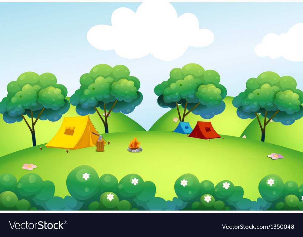 Camping tents at the top of the hill vector | Price: 1 Credit (USD $1)