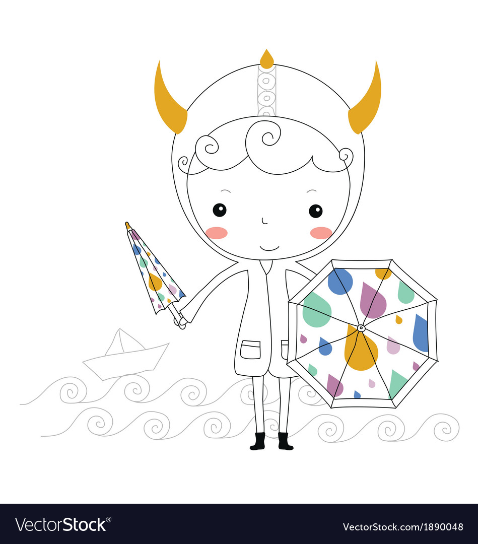Fairytale viking - rain kids vector | Price:  Credit (USD $)