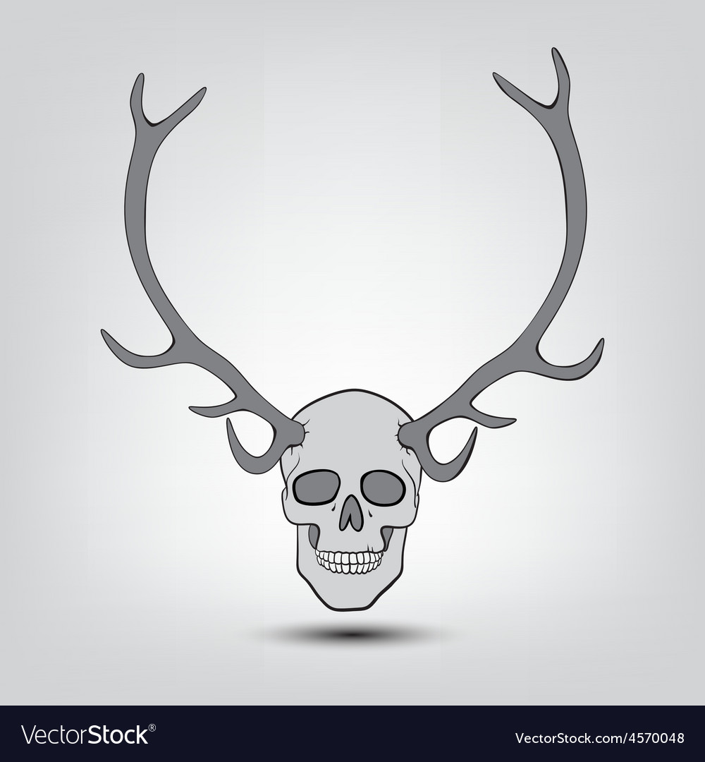 Horned human skulls vector | Price: 1 Credit (USD $1)