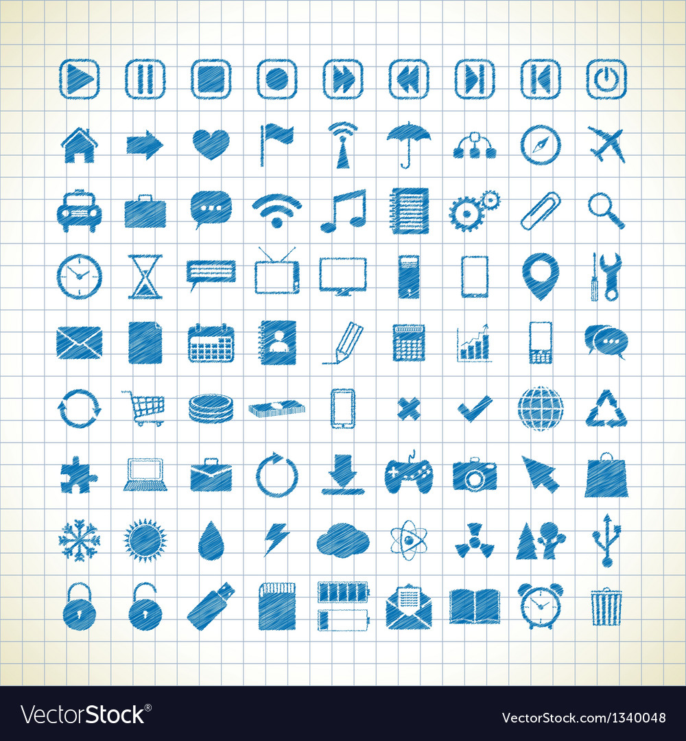 Set of media icons in the style of the sketch vector | Price: 1 Credit (USD $1)