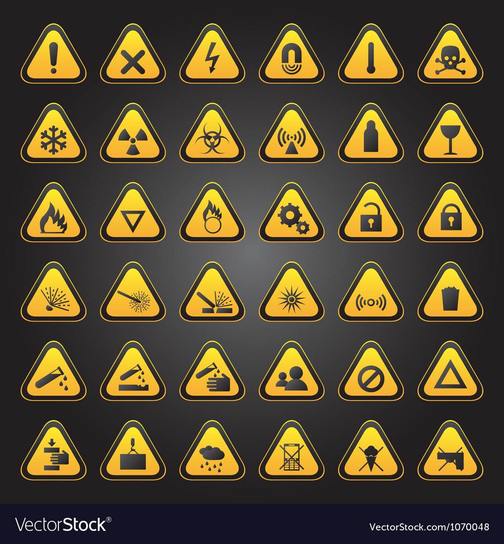 Yellow warning and danger signs collection vector | Price: 1 Credit (USD $1)