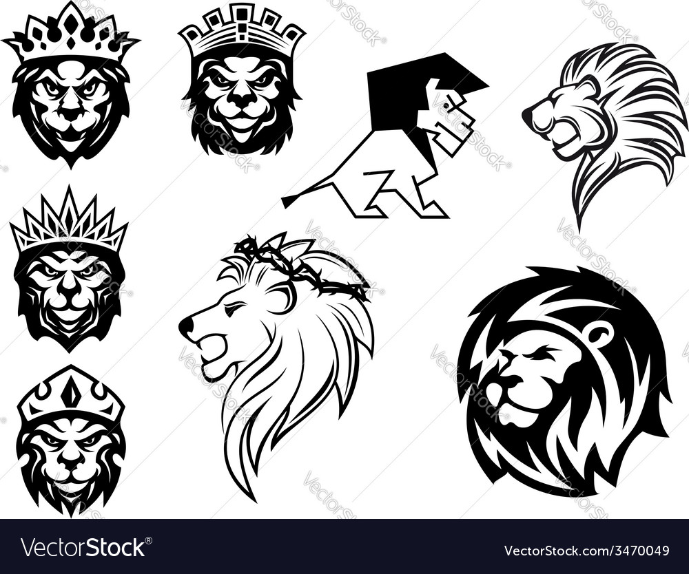 Black and white heraldic lions vector | Price: 1 Credit (USD $1)