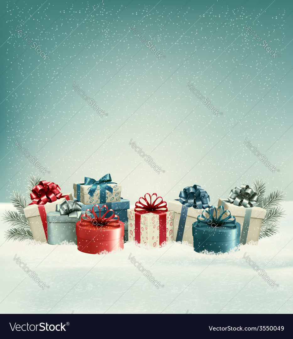 Christmas gift boxes in snow vector | Price: 3 Credit (USD $3)