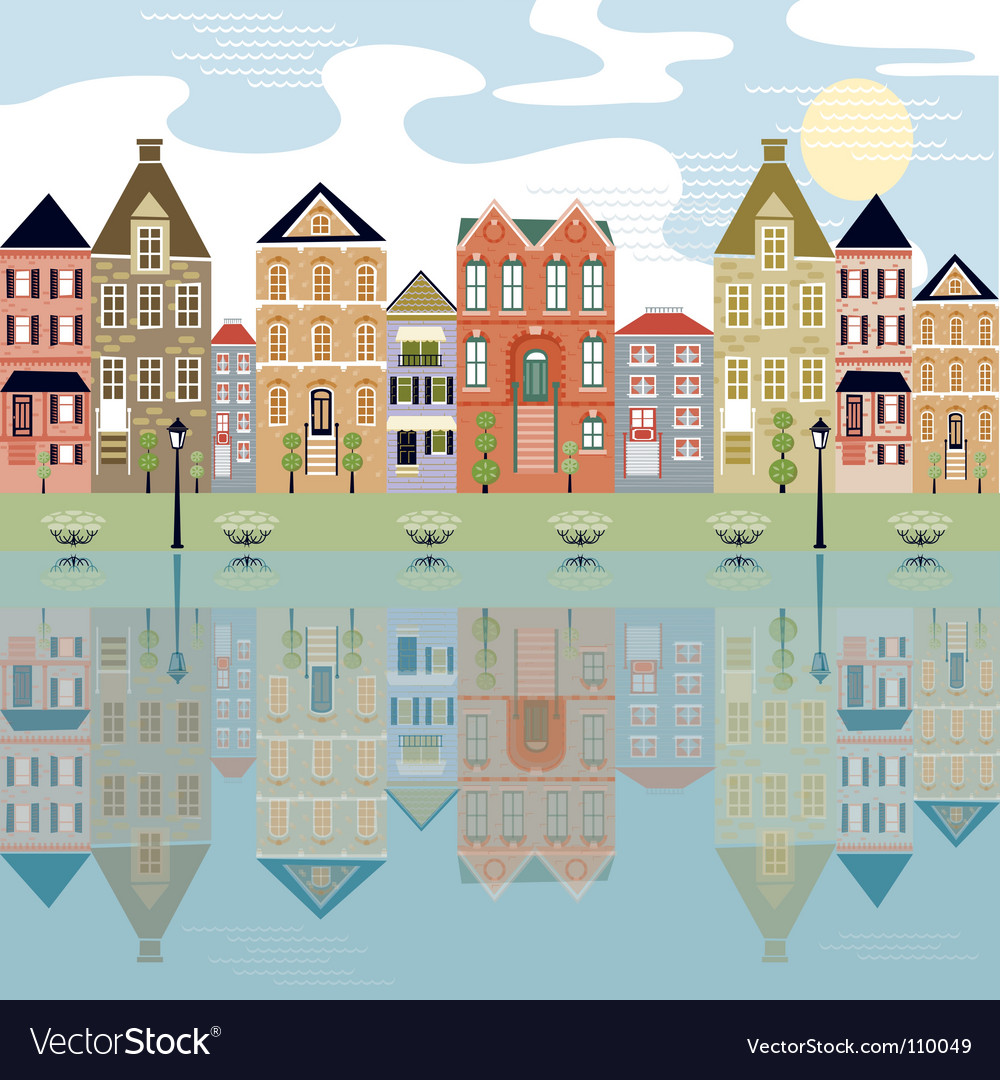 City with water view vector | Price: 3 Credit (USD $3)