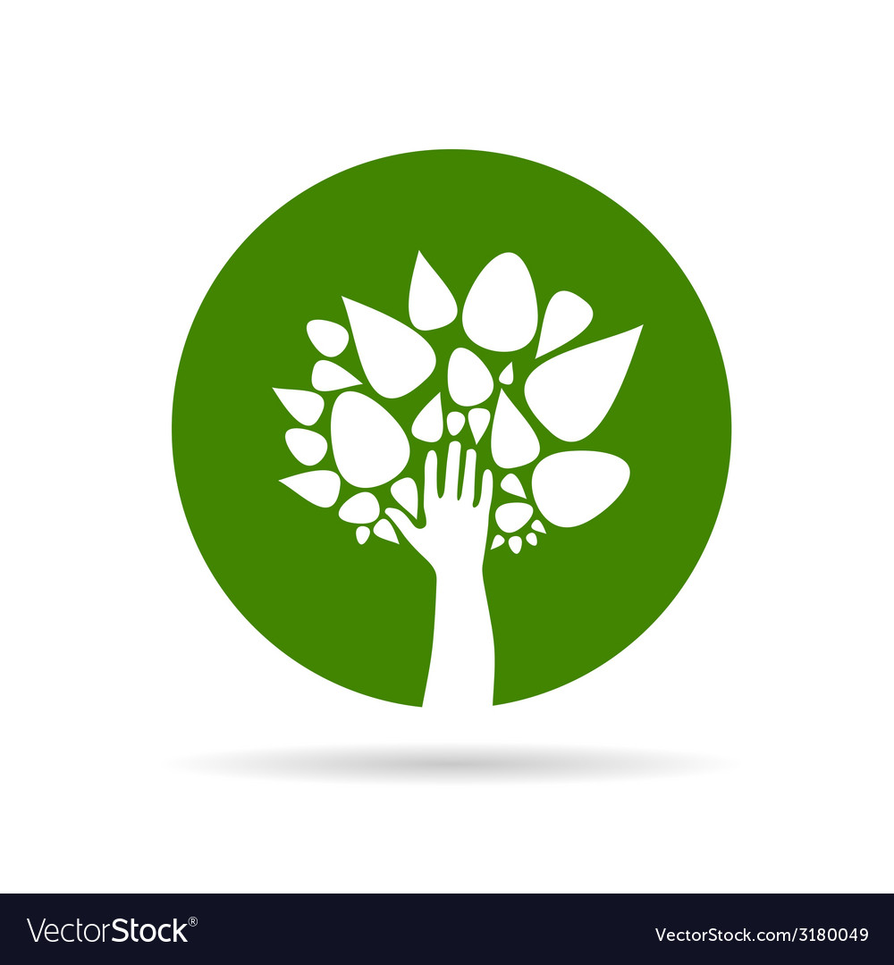 Eco tree with hand green vector | Price: 1 Credit (USD $1)