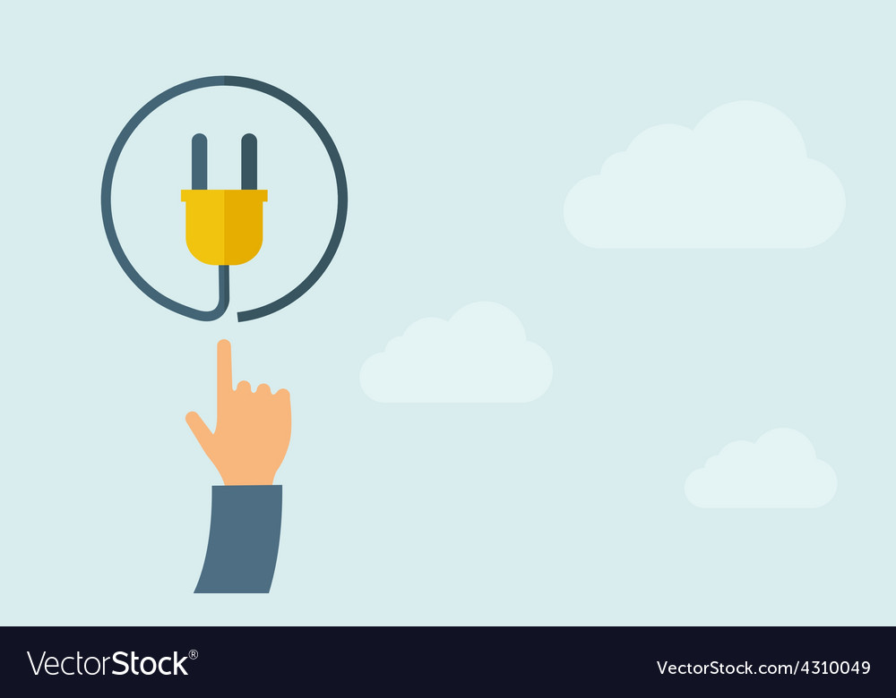 Hand pointing to plug icon vector | Price: 1 Credit (USD $1)