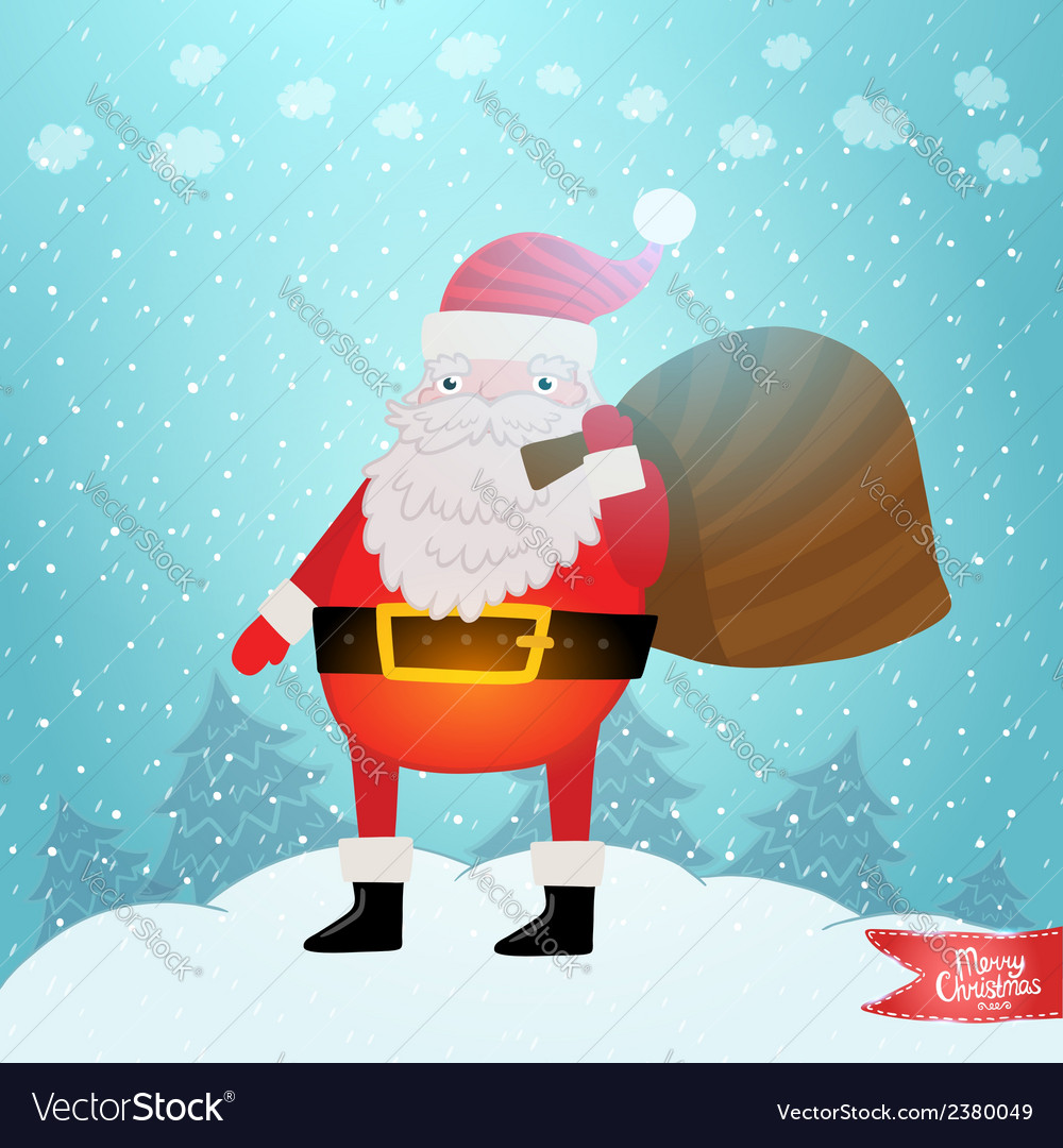 Santa claus with gift bag vector | Price: 1 Credit (USD $1)