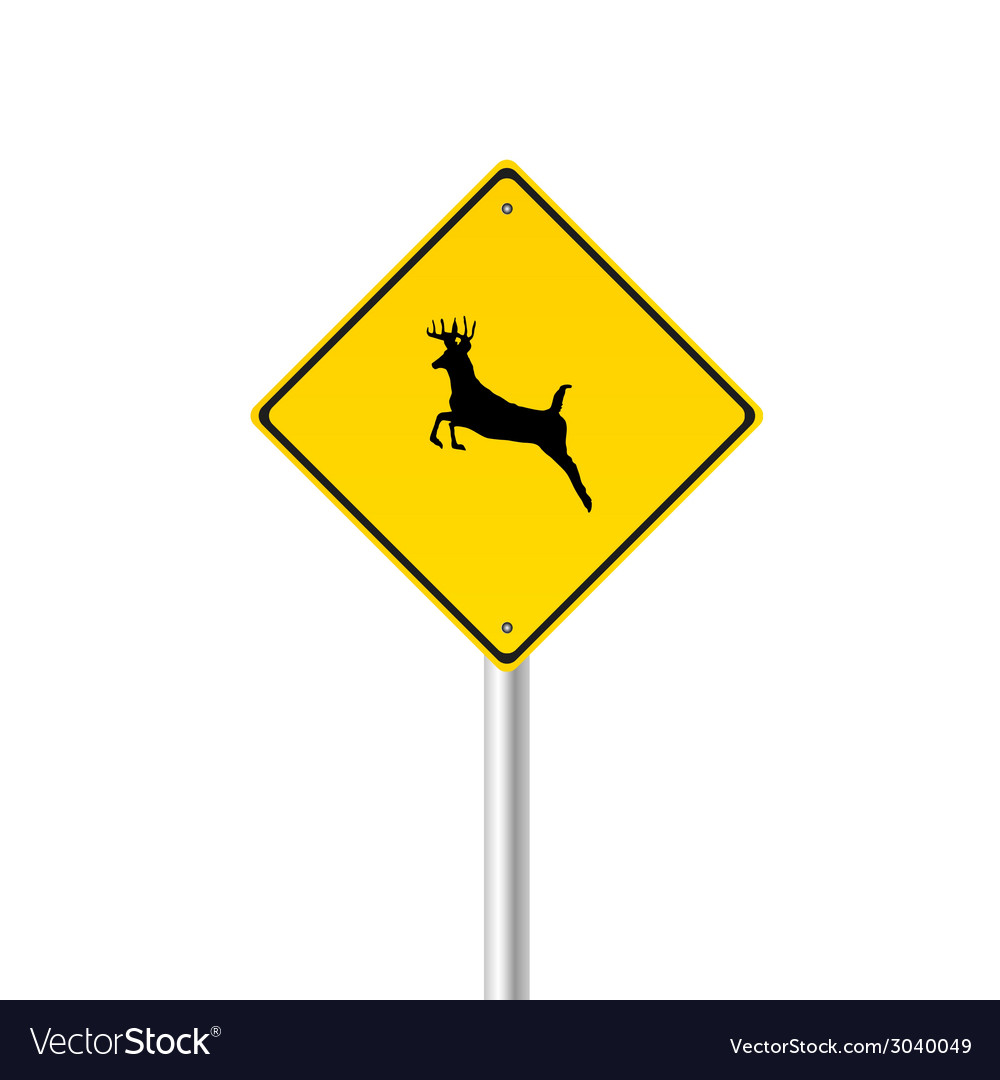 Traffic sign with deer color vector | Price: 1 Credit (USD $1)