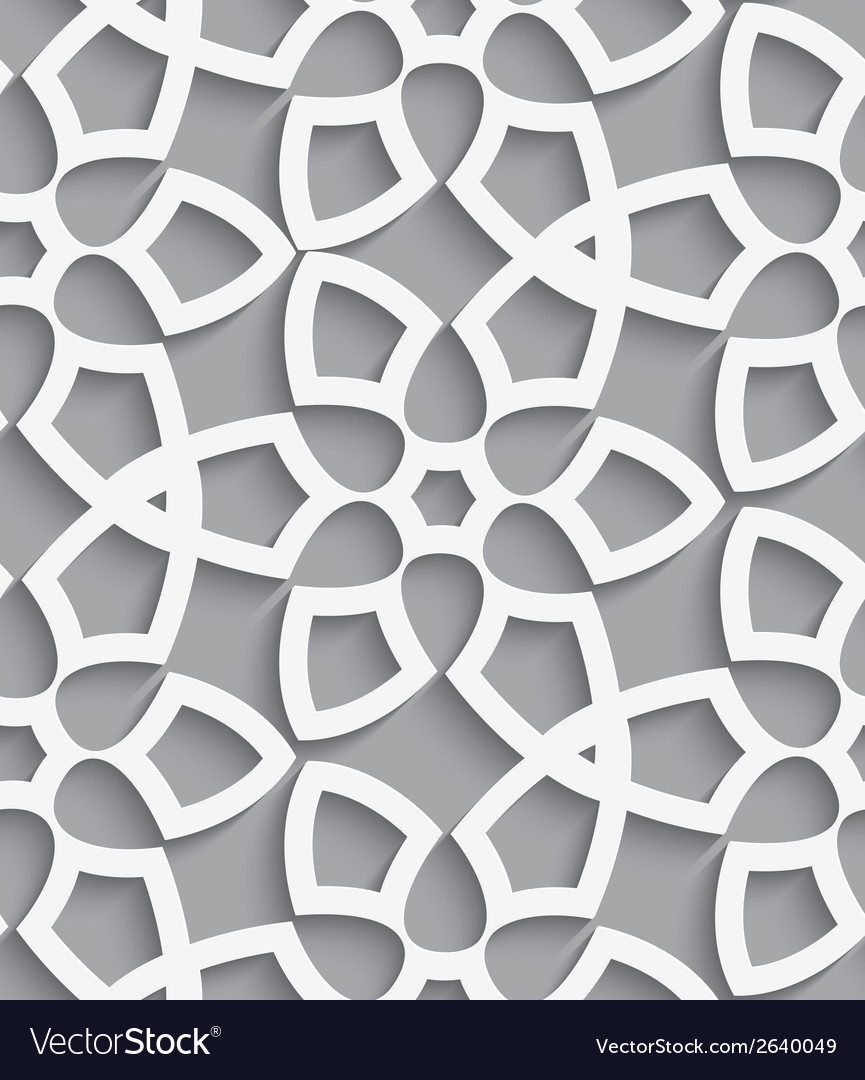 White geometrical floristic net on gray seamless vector | Price: 1 Credit (USD $1)