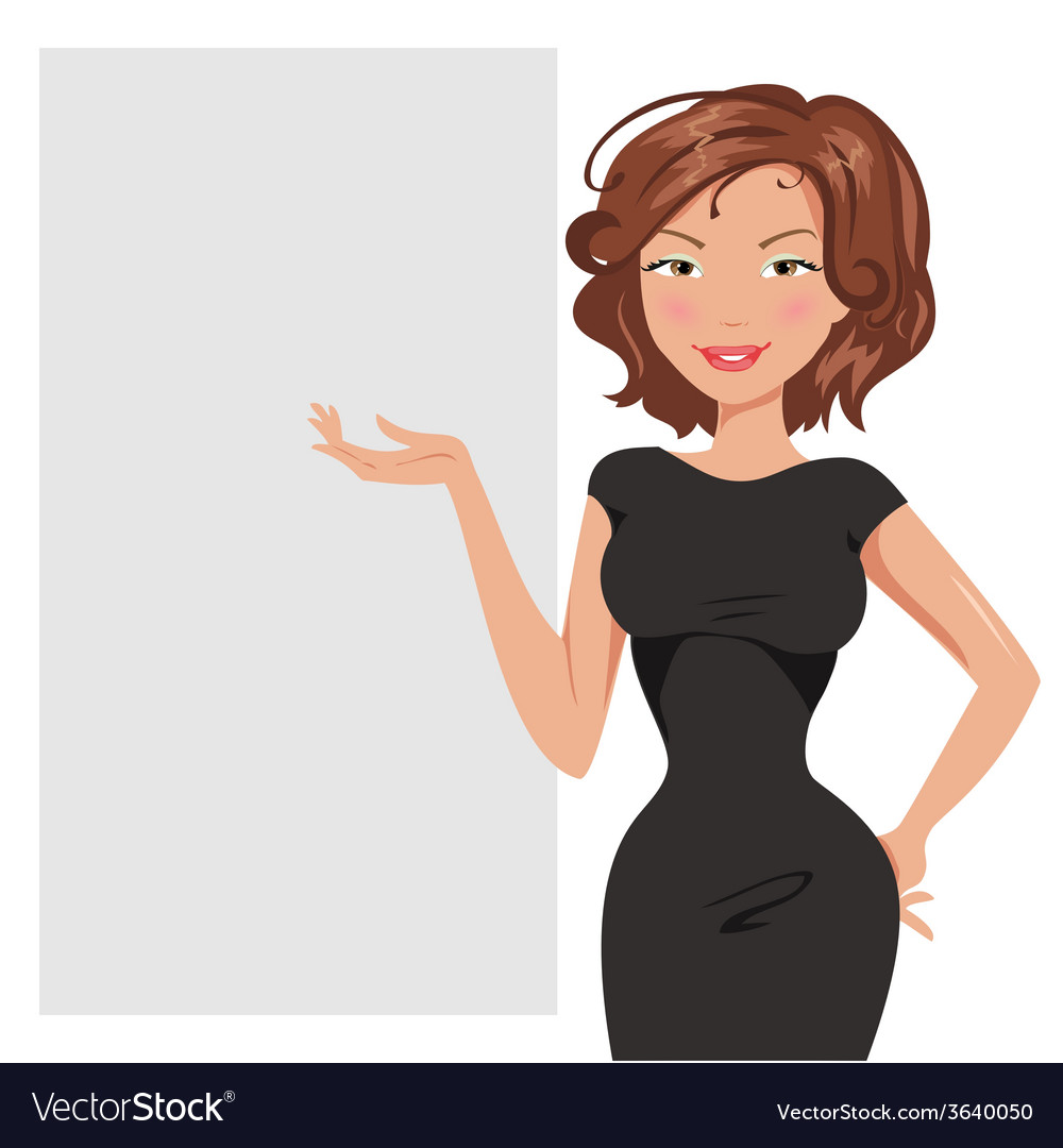 Beautiful business woman is about banner vector | Price: 1 Credit (USD $1)