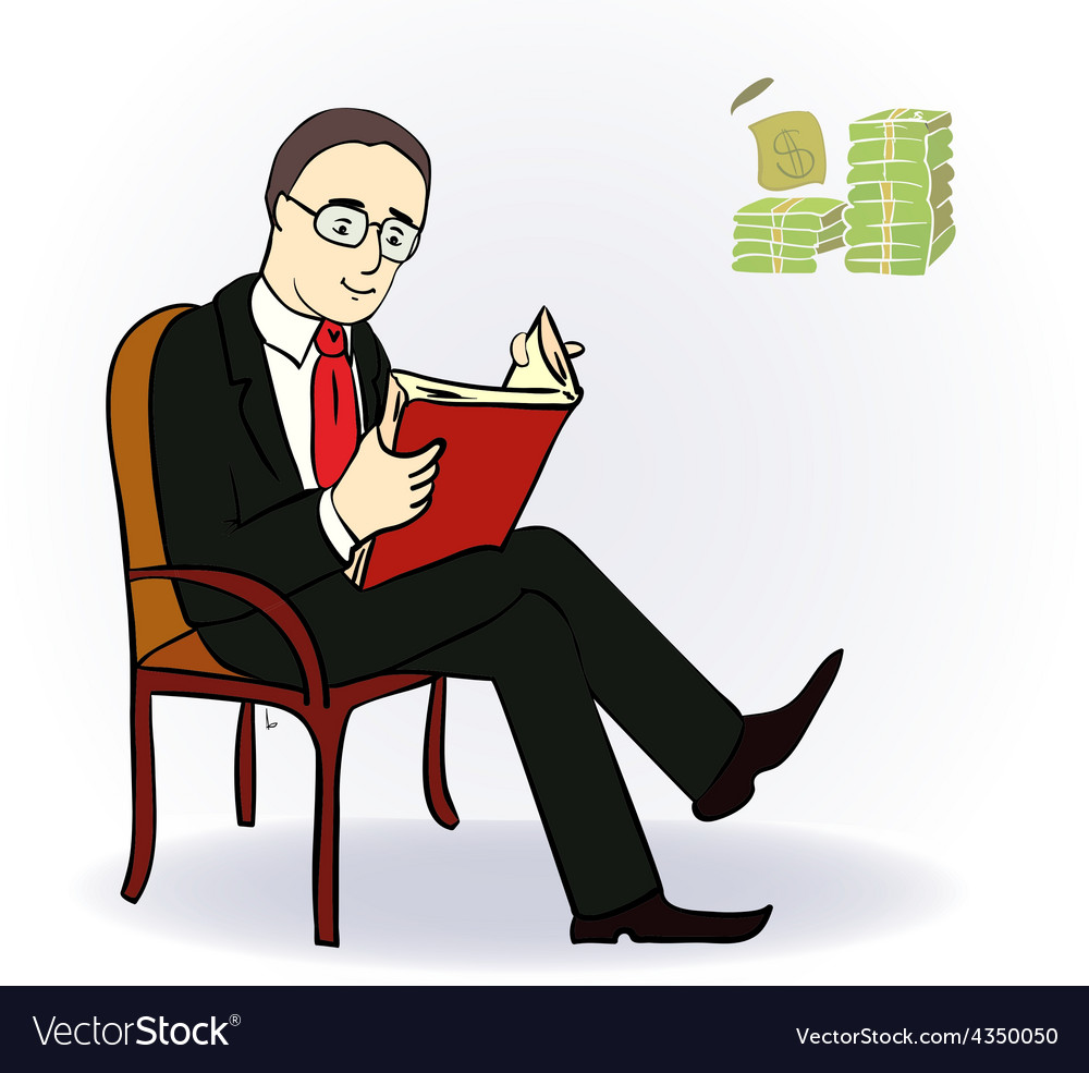 Businessman with a book near the table with money vector | Price: 1 Credit (USD $1)