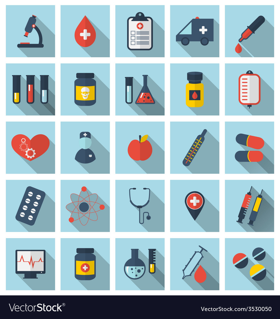 Collection trendy flat medical icons with long vector | Price: 1 Credit (USD $1)