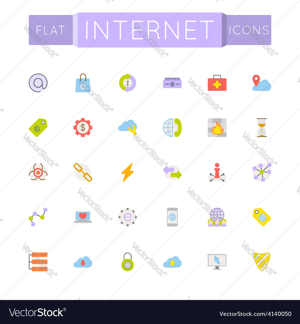 Flat internet icons vector | Price: 1 Credit (USD $1)