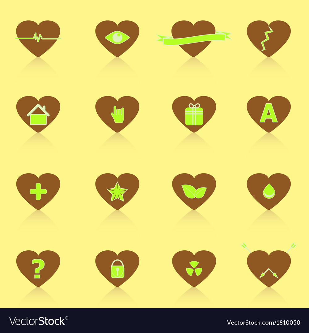 General symbol in heart shape icons with reflect vector | Price: 1 Credit (USD $1)