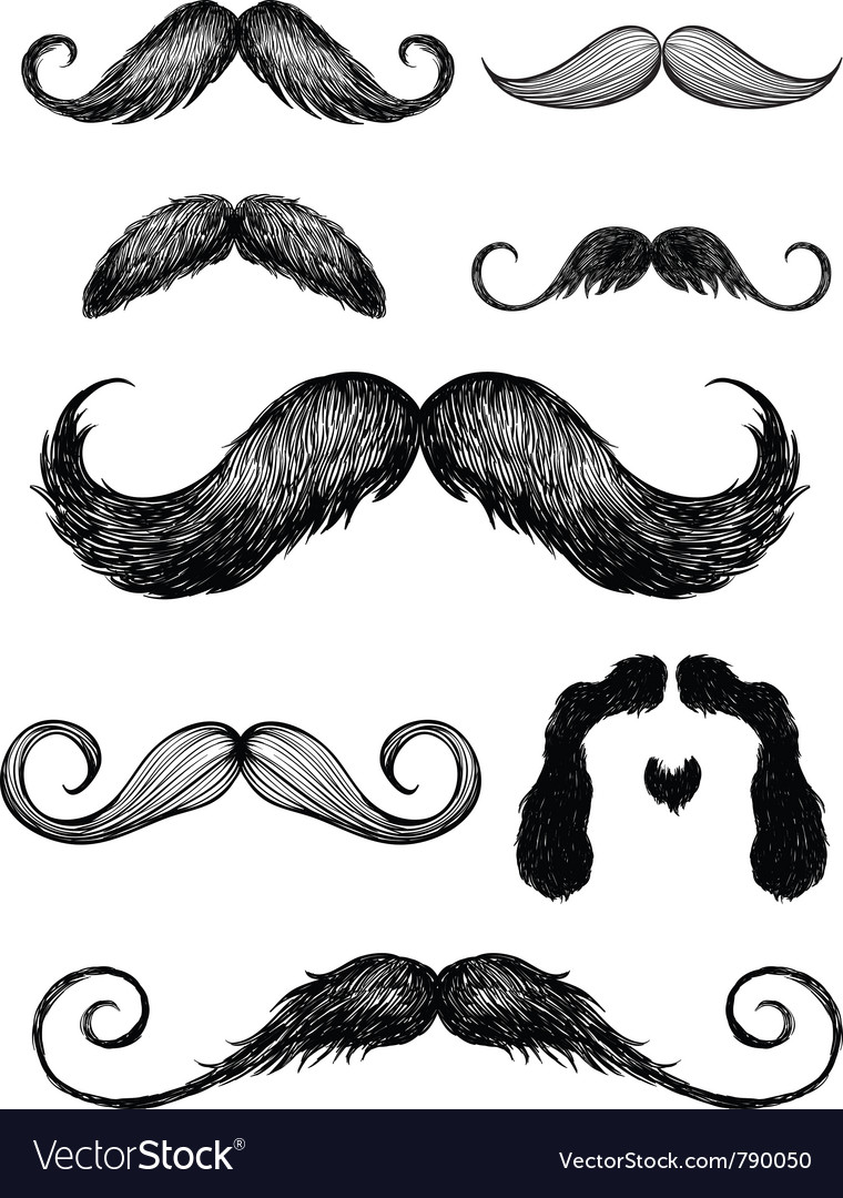 Hand drawn mustache set vector