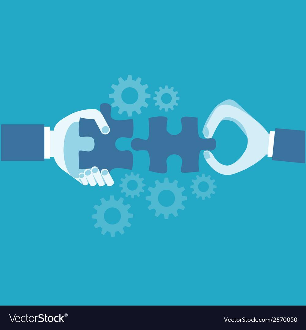 Hands and puzzle business concept vector | Price: 1 Credit (USD $1)
