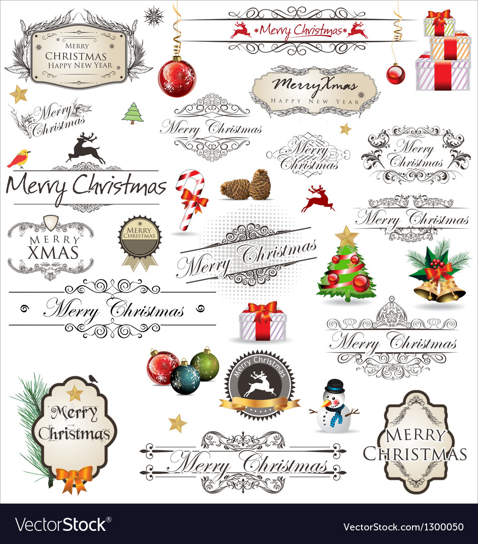 Merry christmas vintage label collection vector | Price: 1 Credit (USD $1)