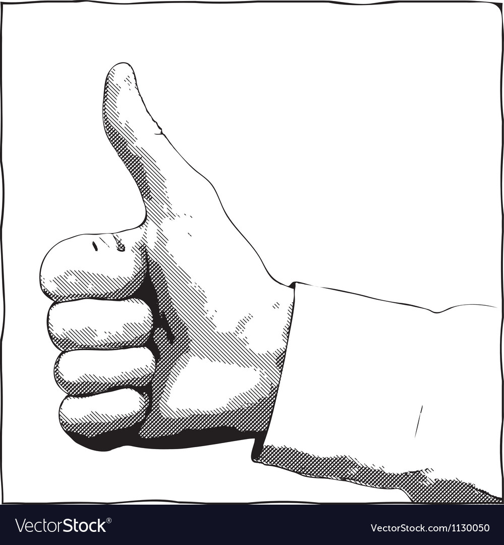 Monochrome thumb up gesture vector | Price: 1 Credit (USD $1)