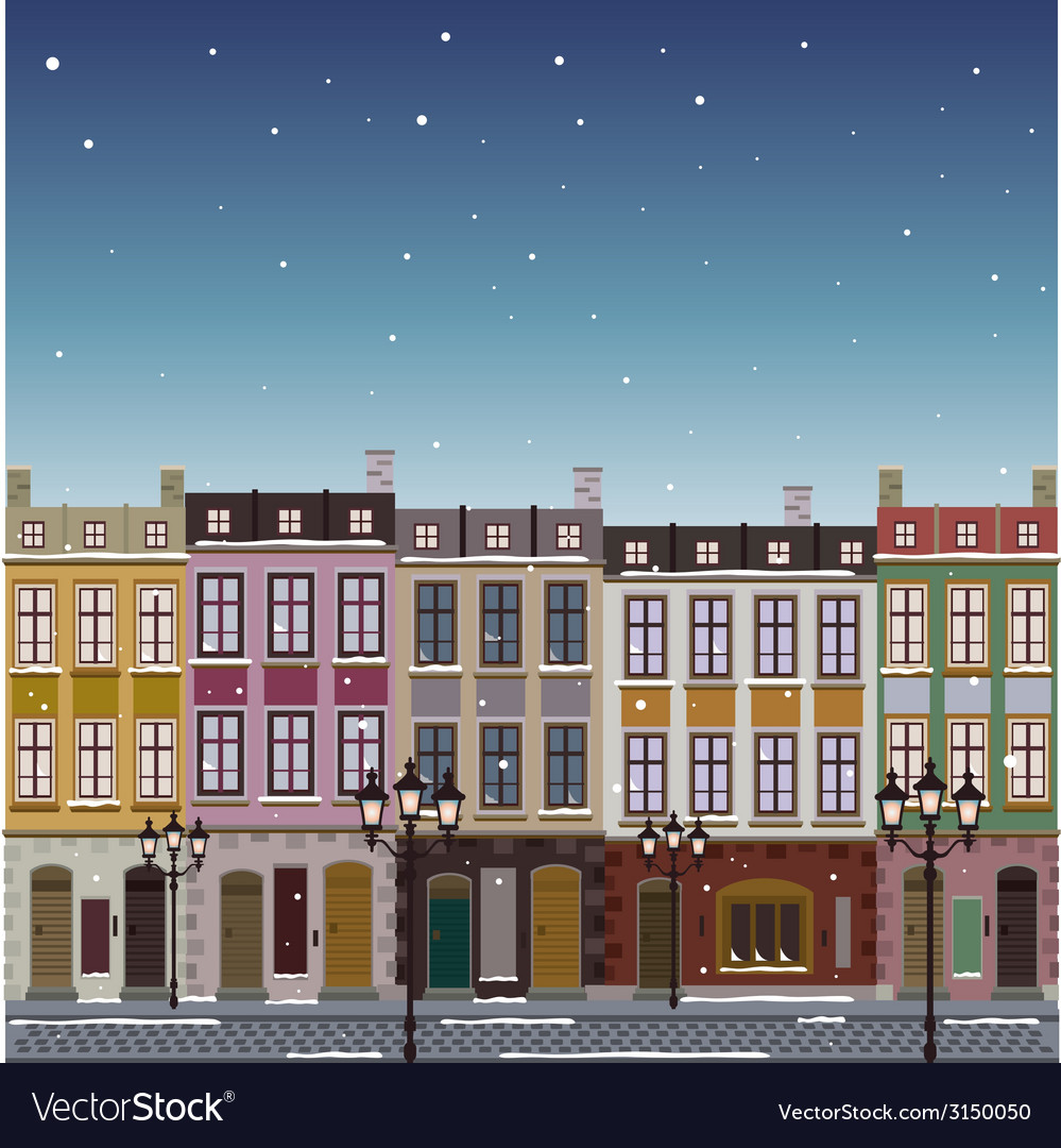 Old street town christmas background vector | Price: 1 Credit (USD $1)