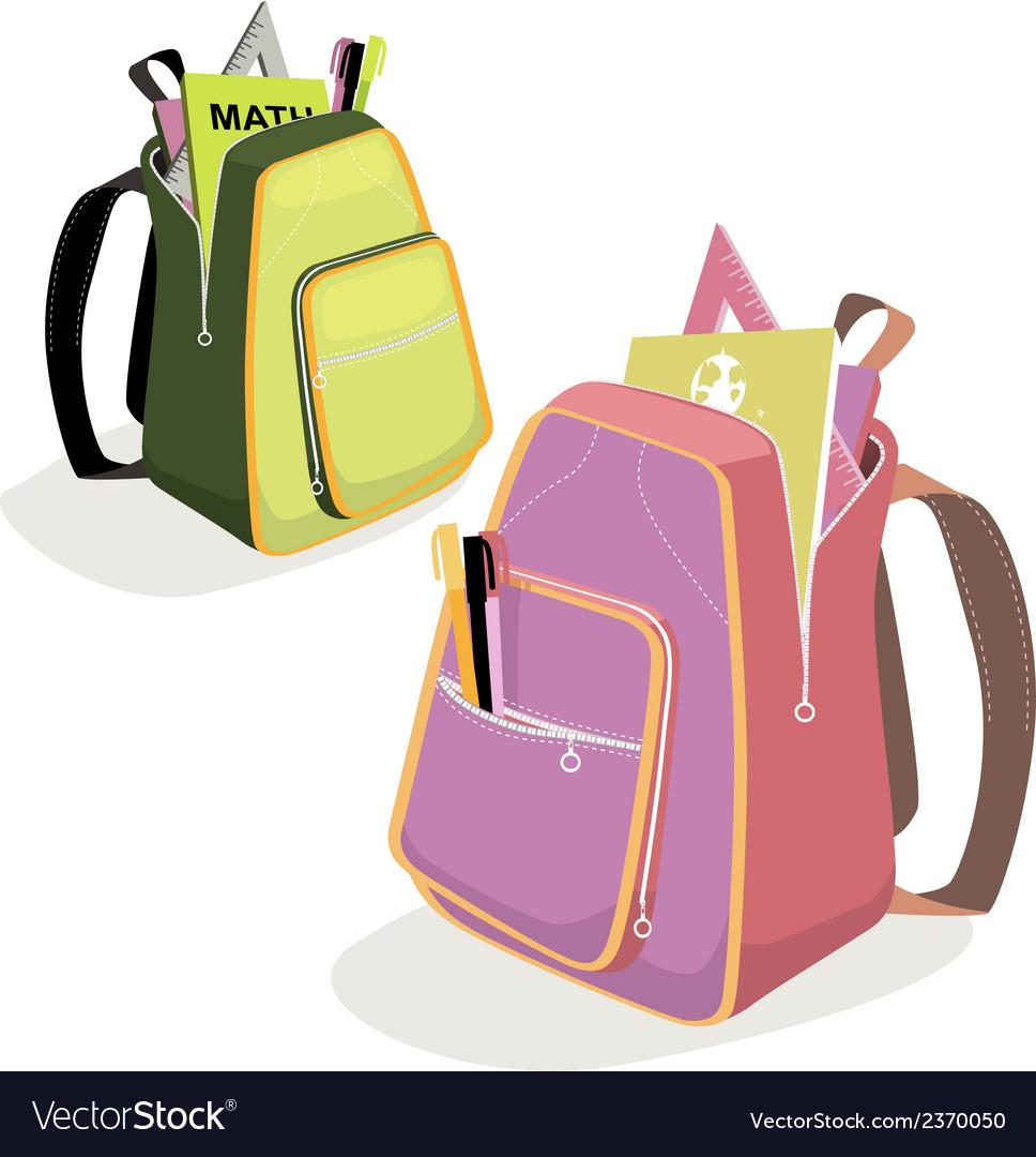 School backpacks vector | Price: 1 Credit (USD $1)