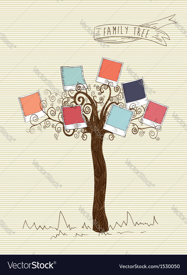 Vintage colors instant photo tree vector | Price: 1 Credit (USD $1)