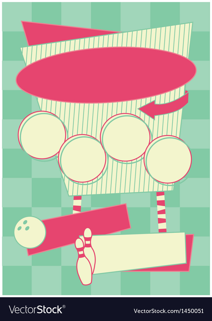 1950s bowling style background and frame vector | Price: 1 Credit (USD $1)