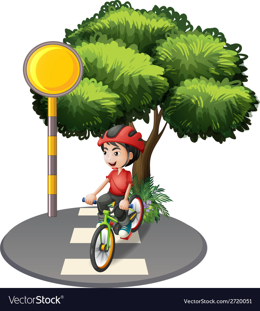 A street with a boy biking vector | Price: 1 Credit (USD $1)