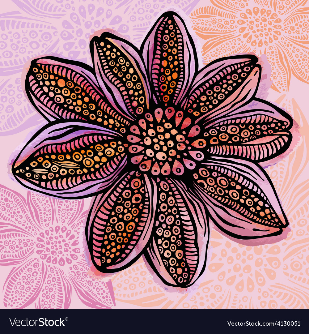 Colorful watercolor bright flower vector | Price: 1 Credit (USD $1)