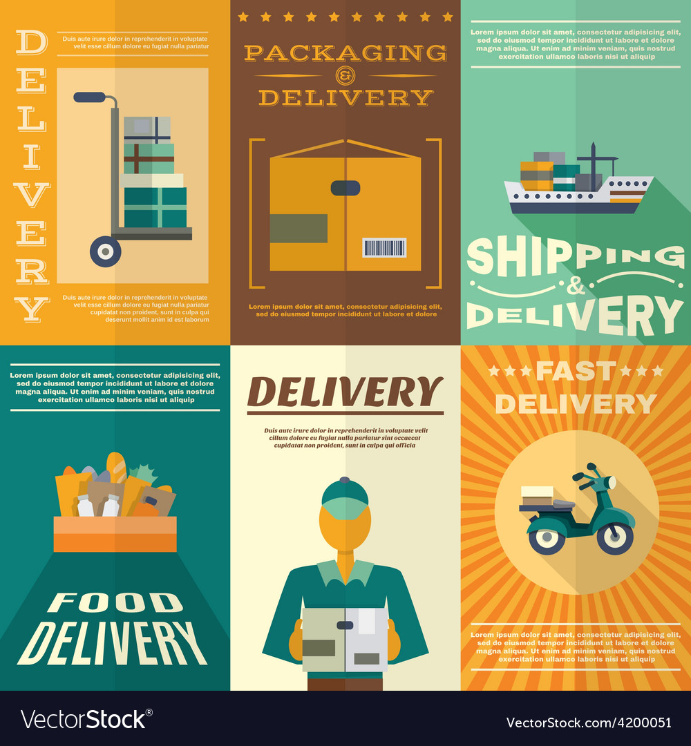 Delivery poster set vector   Price: 1 Credit (USD $1)