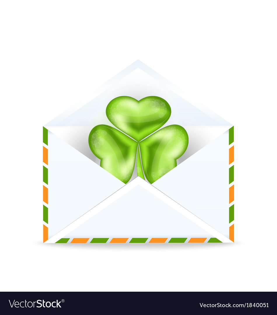 Envelope with clover isolated on white background vector | Price: 1 Credit (USD $1)