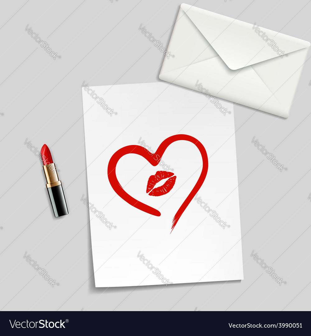 Heart drawn in lipstick and lip imprint vector | Price: 1 Credit (USD $1)