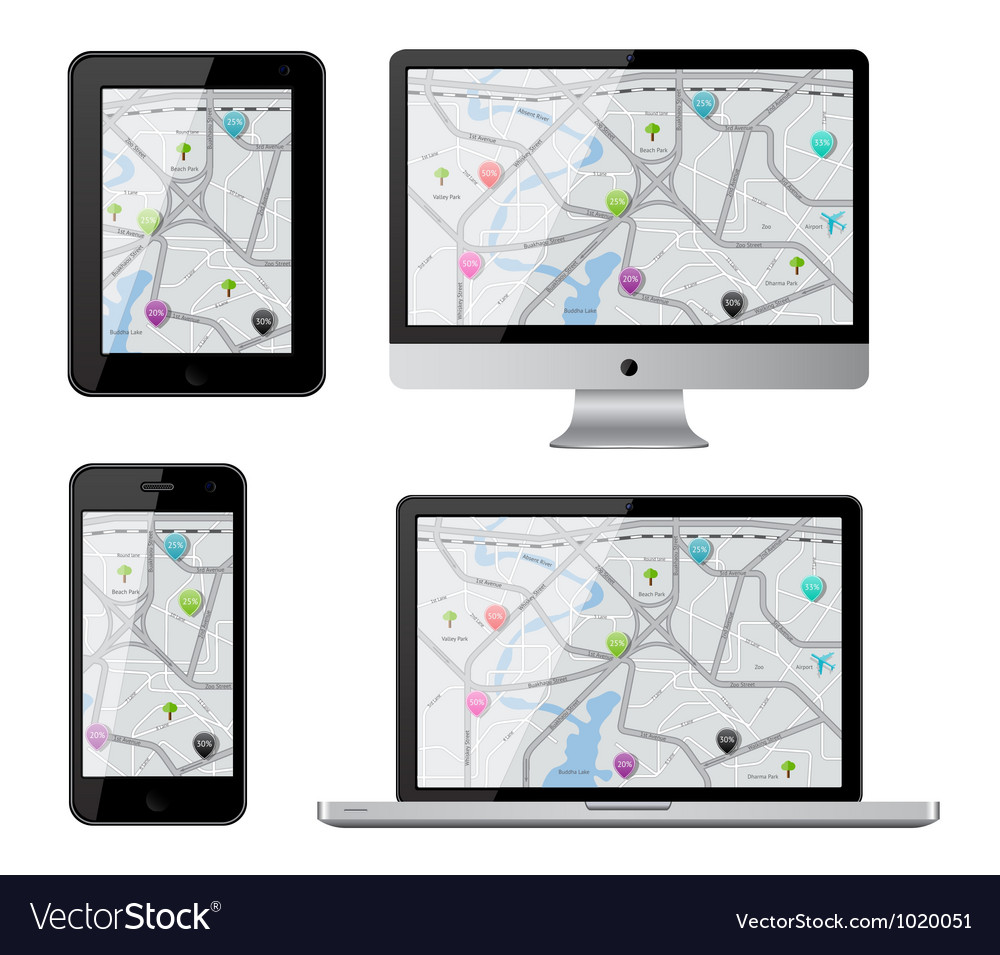 Isolated gadgets with street map vector | Price: 3 Credit (USD $3)