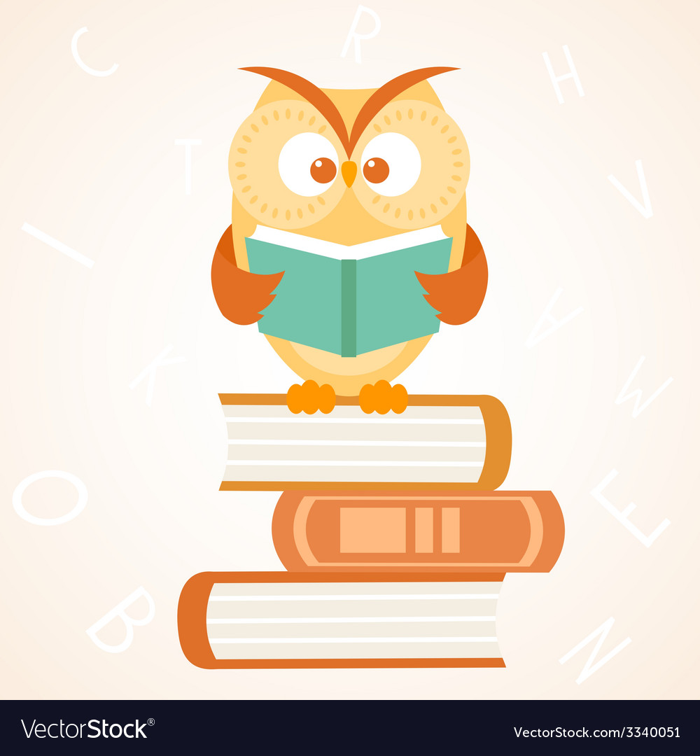 Owl reading a book vector | Price: 1 Credit (USD $1)
