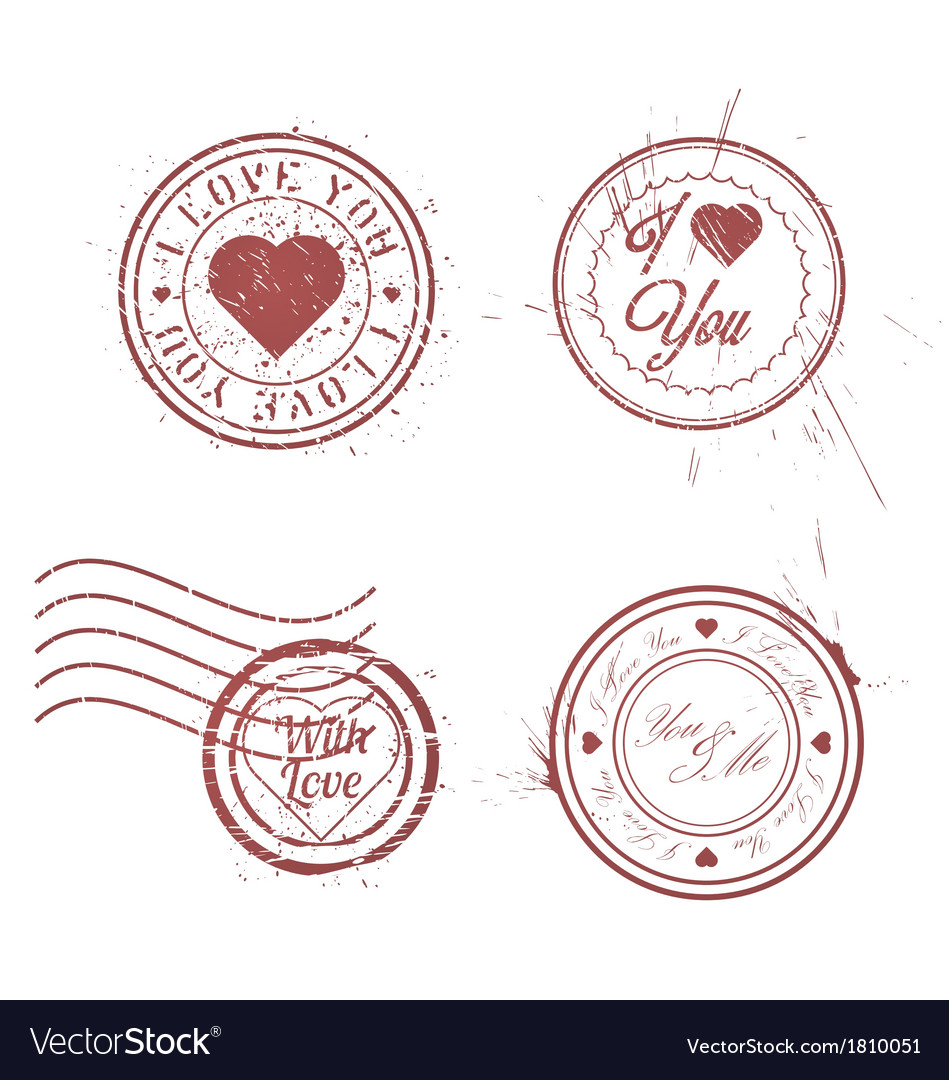Romantic postage stamps vector | Price: 1 Credit (USD $1)