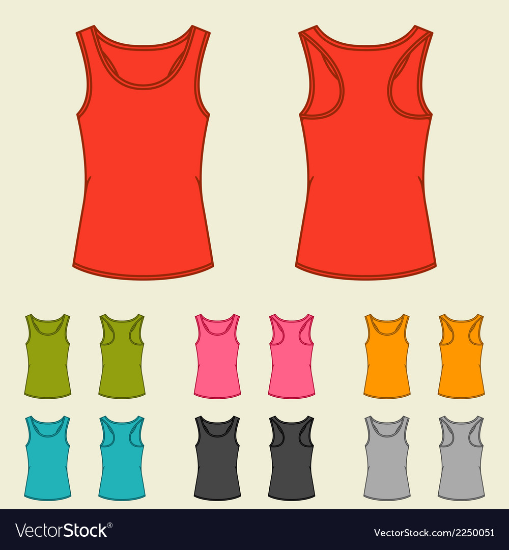 Set of templates colored singlets for women vector | Price: 1 Credit (USD $1)
