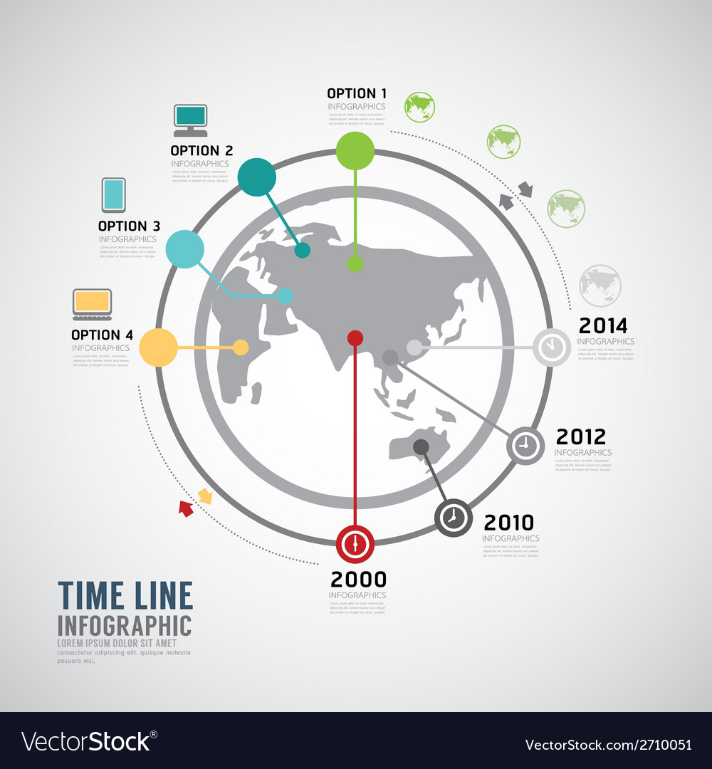Timeline infographic world design template vector | Price: 1 Credit (USD $1)