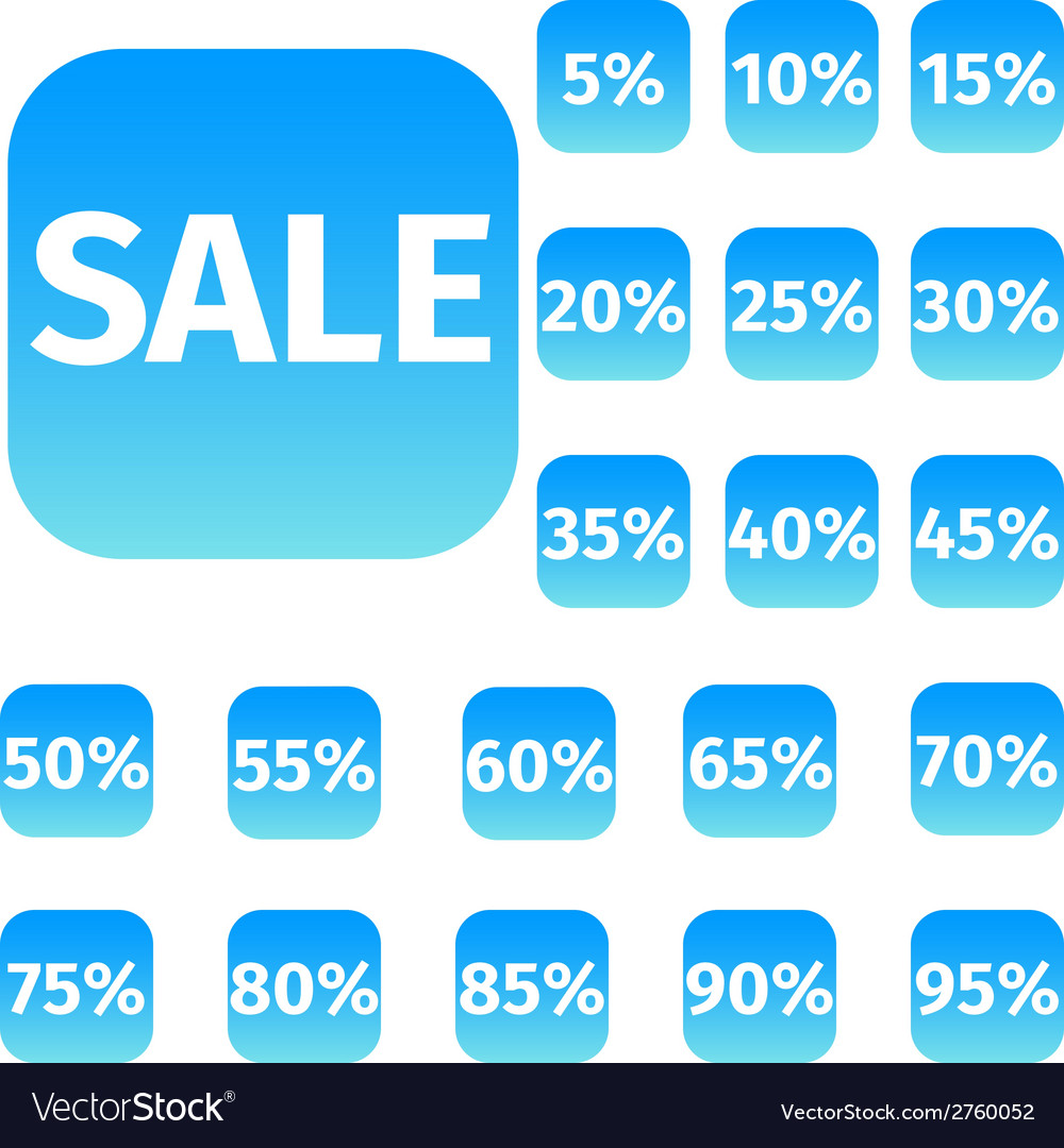 Blue icon set with sale concept and percentage vector | Price: 1 Credit (USD $1)