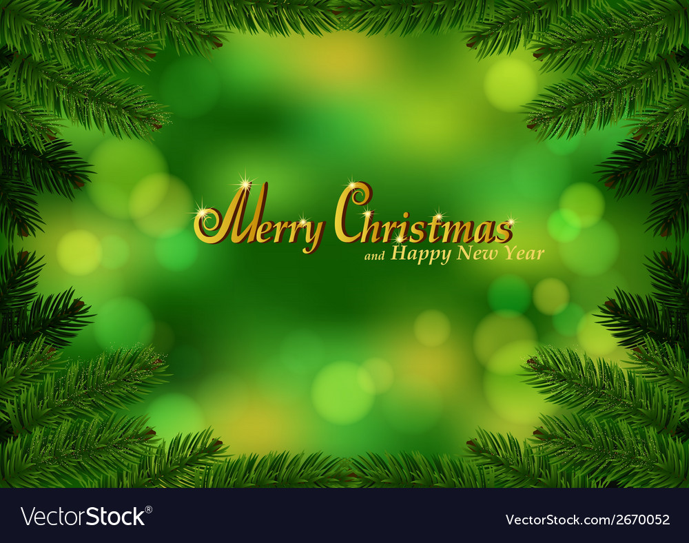 Christmas fir frame green background vector | Price: 1 Credit (USD $1)
