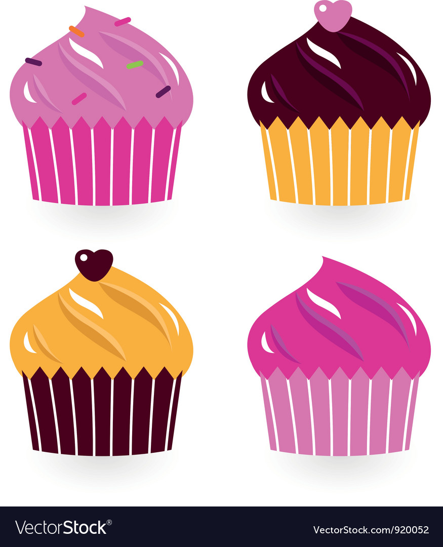Colorful birthday cakes set isolated on white vector | Price: 1 Credit (USD $1)