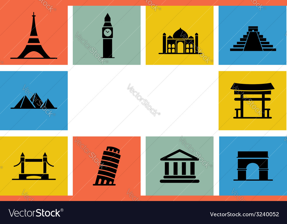 Destination icon set vector | Price: 1 Credit (USD $1)