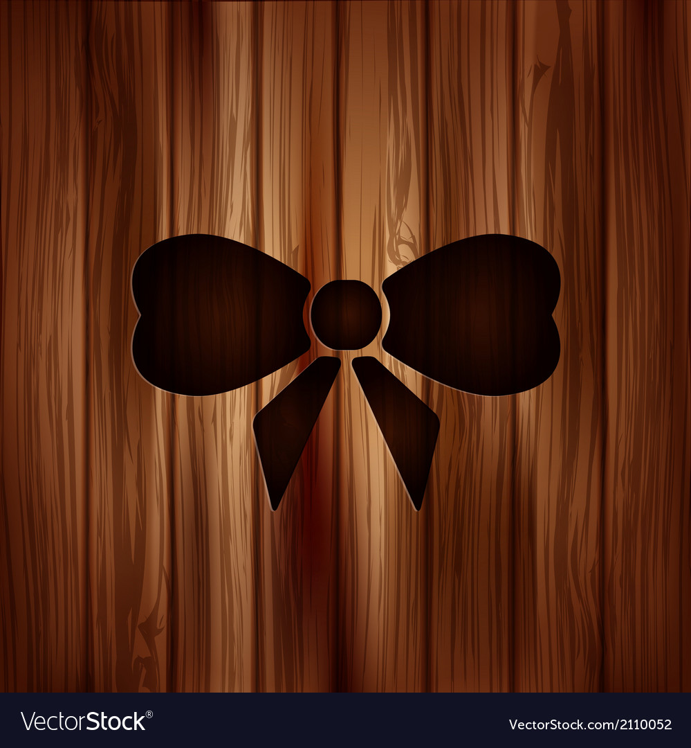 Gift christmas bow web icon wooden background vector | Price: 1 Credit (USD $1)