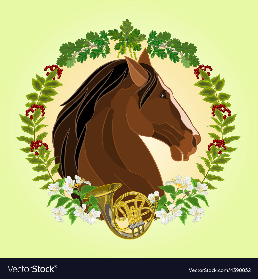 The head dark brown horse leaves and french horn vector | Price: 1 Credit (USD $1)