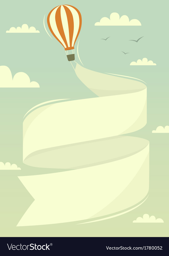 Hot air balloon with banner vector | Price: 1 Credit (USD $1)