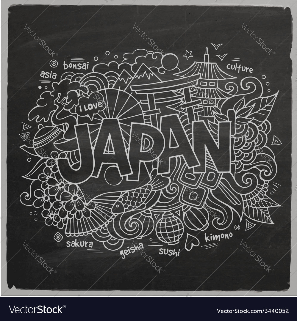 Japan hand lettering and doodles elements vector | Price: 1 Credit (USD $1)