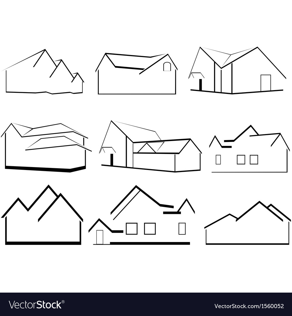 Outlines of houses vector | Price: 1 Credit (USD $1)