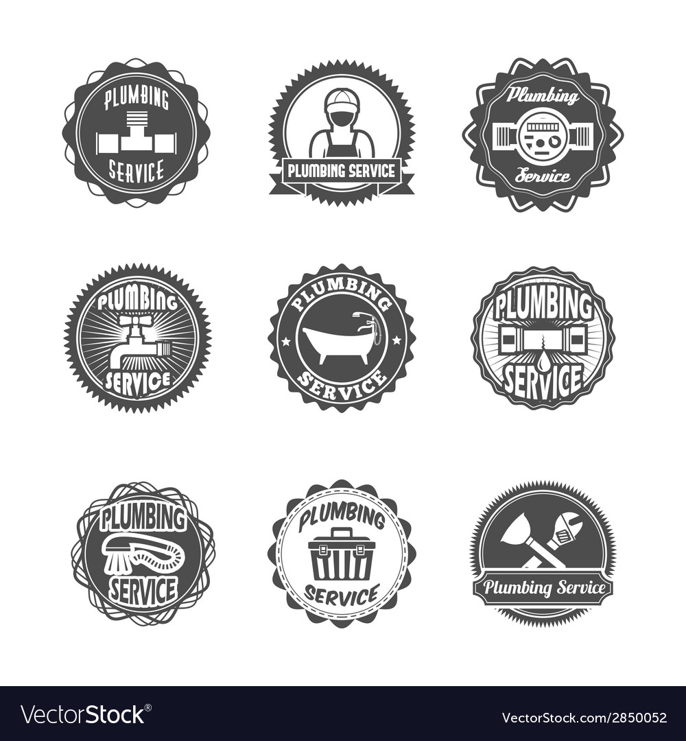 Plumbing service labels vector | Price: 1 Credit (USD $1)