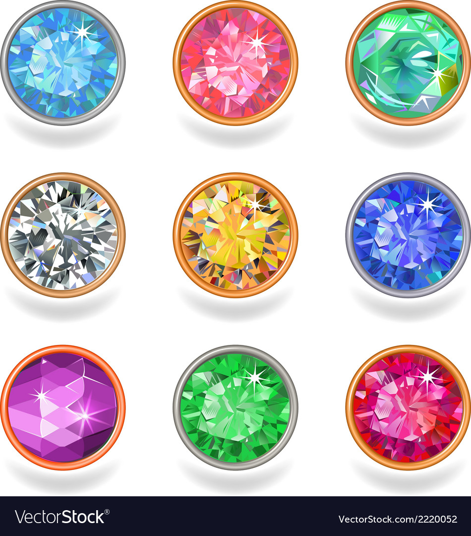 Round shape top view bezel colored gems vector | Price: 1 Credit (USD $1)
