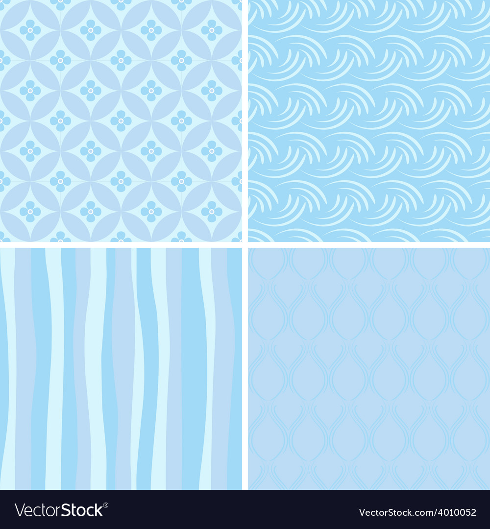 Set of blue seamless patterns vector | Price: 1 Credit (USD $1)