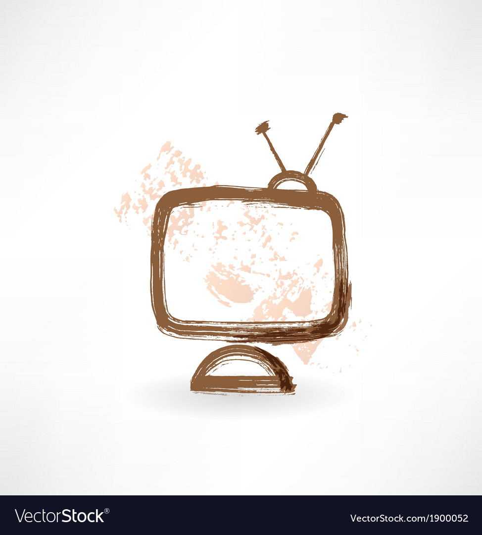 Television grunge icon vector | Price: 1 Credit (USD $1)